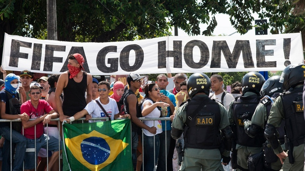 Protests over FIFA prior to the Cup Source: Davi Pinheiro/Reuters
