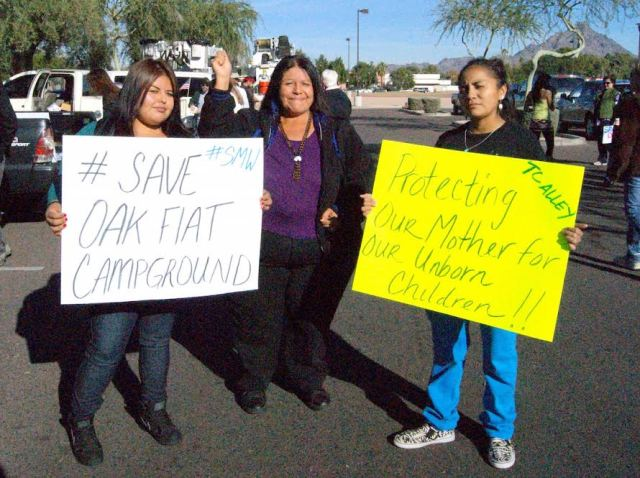 Coleen Begay and Ida Mae Clark with their mother, Delores Clark from Seven Mile District, San Carlos Apache, joined Friday's protest. Source: The Apache Messenger