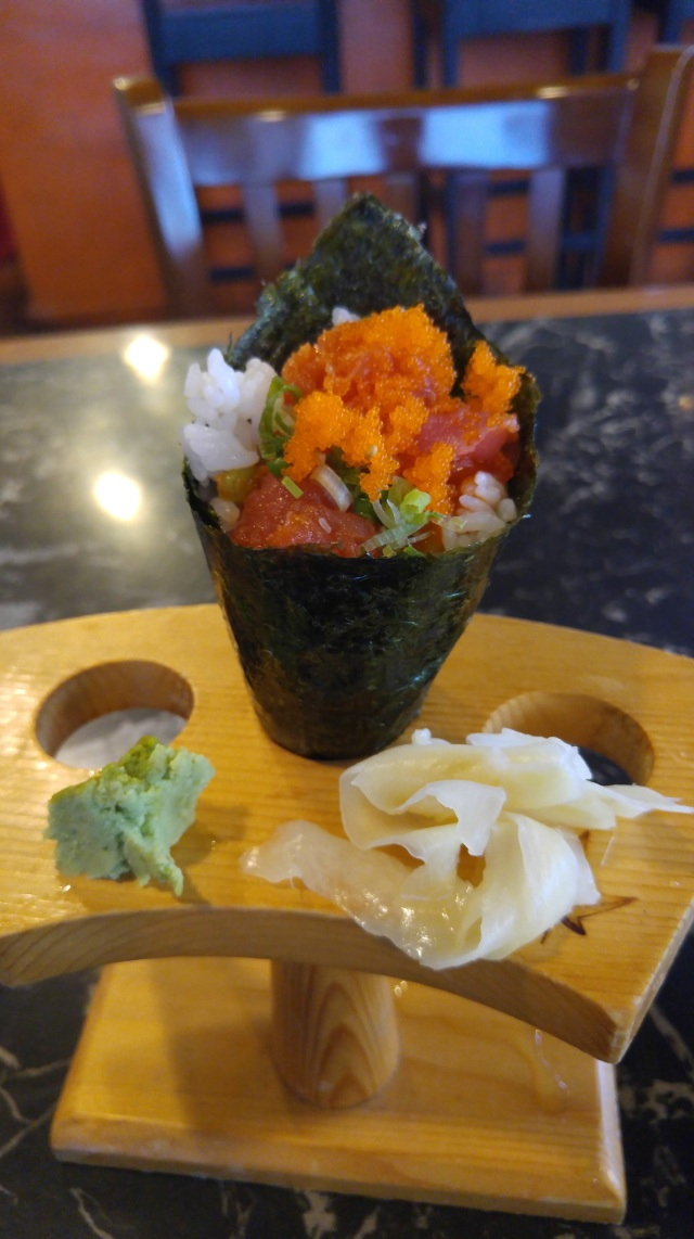 Spicy tuna hand roll (the best sushi I have ever had)