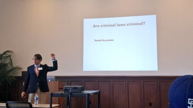 Professor Bell giving his lecture on criminal law, source: me